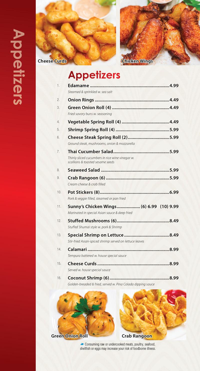 Sunnys Restaurant Dine In Insert 10-184
